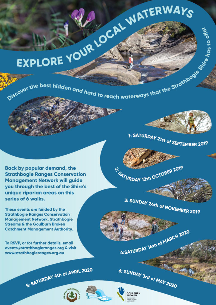 The Strathbogie Ranges Conservation Management Network is hosting a series of 6 riparian walks. Here's the promotional poster.