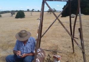 Groundwater bore and old windmill stand, Strathbogie.