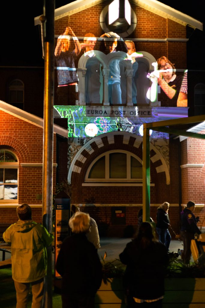 The Euroa Post office with fungi themed projections.